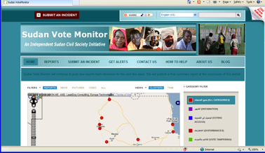 The Site Went Live Aril 10 2010 With Web And Sms Reporting In Sudan English Arabic To Coincide Start Of Elections Held April 11 16