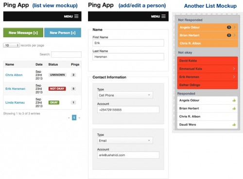 Mockups of the Ping app, still undergoing some design tweeks