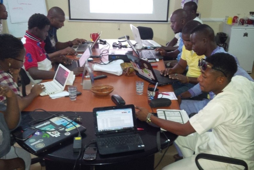 The Uzabe local Back end team in Abuja, during the test deployment on March 14, 2015